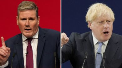 Sir Keir Starmer and Boris Johnson making speeches at their respective party conference