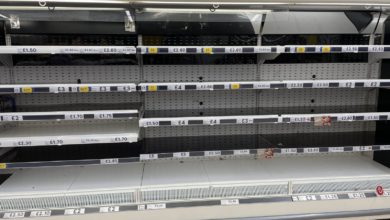 Empty shelves in the meat aisle of a branch of Tesco in Liverpool