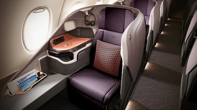 Singapore Airlines was the first airline worldwide to fly the A380 superjumbo, in October 2007, and the first to fly it from the United Kingdom, in March 2008. Pictured is an A380 business-class seat