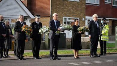 Essex Police chief constable Ben-Julian Harrington, and Roger Hirst, police fire and crime commissioner for Essex, far left paying their respects to Sir David Amess with Boris Johnson, Sir Lindsay Hoyle and Priti Patel. Pic: Essex Police