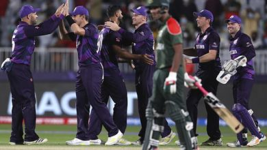 Scotland players celebrated a famous win over highly-fancied Bangladesh on Sunday