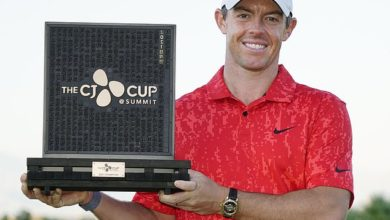 Rory McIlroy beams after securing victory at the CJ Cup in Las Vegas on Sunday evening