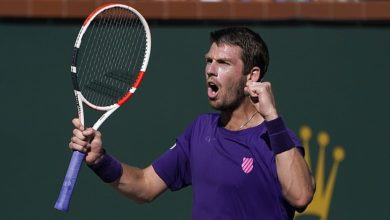 British No 1 Cam Norrie celebrates after reaching the final at Indian Wells on Saturday