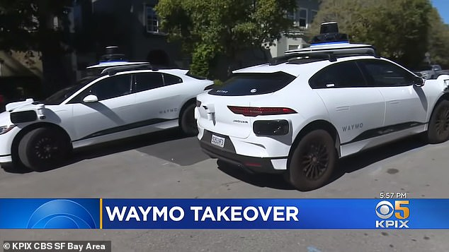 Resident Jennifer King told KPIX that the vehicles, which are being tested in the California city, all make a multi-point turn and then just leaving from where they came in – and sometimes multiple cars arrive at once