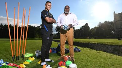 Max Ojomoh (left) follows in his dad Steve's (right) footsteps and he has some big shoes to fill