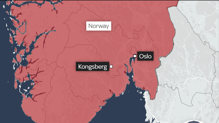 Norway map of bow and arrow attacks location