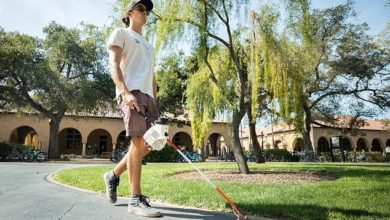 The accelerated cane designed by engineers at Stanford University's Intelligent Systems Lab (above) uses AI-generated algorithms to actually steer the user toward a goal ¿ like a coffee shop or subway ¿ rather than just away from an obstacle